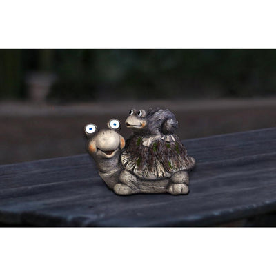 Garden Decor-Solar Turtle w/Frog By Alpine