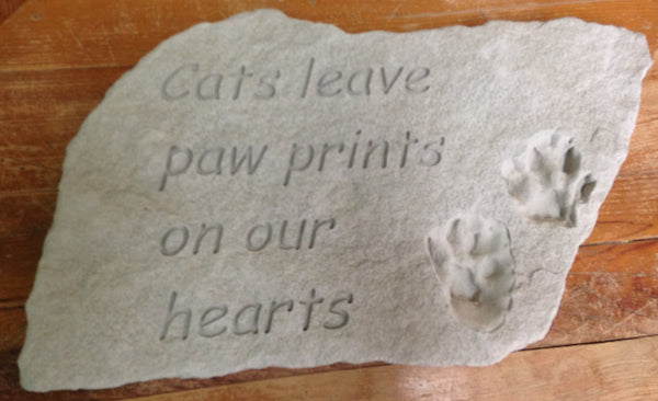 "Outdoor decor-Cat ""paw prints"" stepping stone, saying:Cats leave paw prints on our hearts"