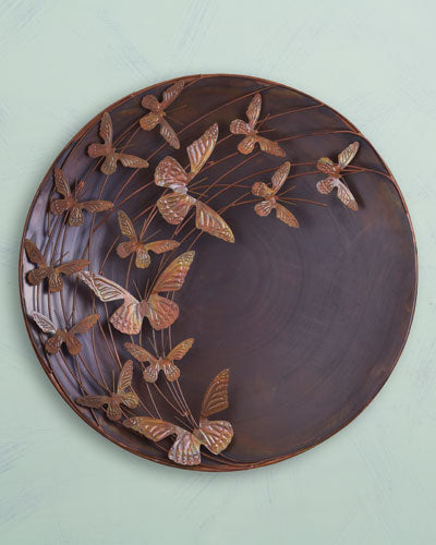 Garden Decor-Raised Butterflies Wall Disc By Ancient Graffiti