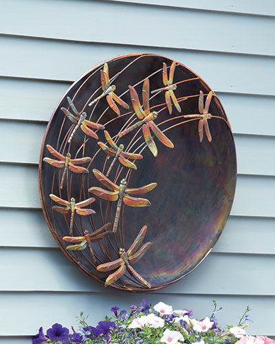 Garden Decor-Raised Dragonflies Wall Disc By Ancient Graffiti