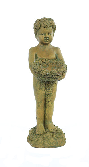 """Boy Bird Feeder"" Statue For Sale 