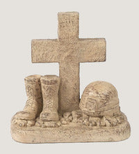 Statue Solider with boots and helmet at cross for sale | Shop Stuart's
