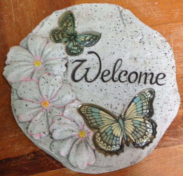 Outdoor decor-Welcome Butterfly stepping stone by: Carson