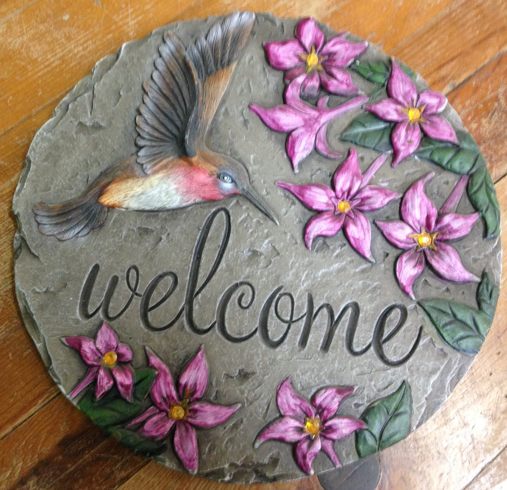 Outdoor decor-Welcome Hummingbird stepping stone by: Carson