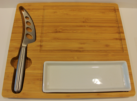 Bamboo Cheese Cutting Board With Knife and Tray