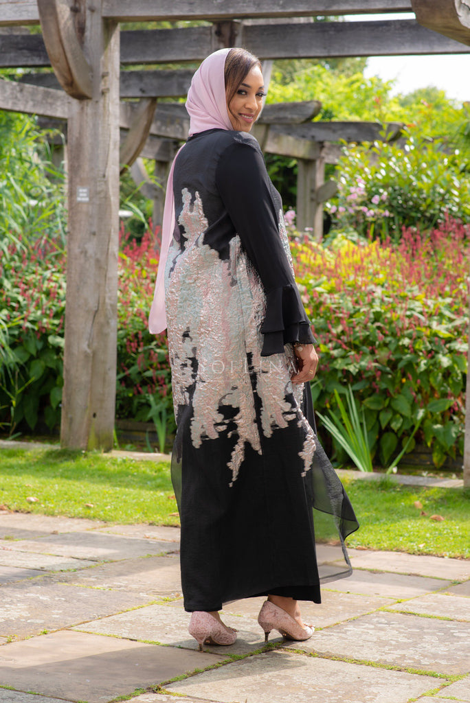 Silver and pink foil abaya