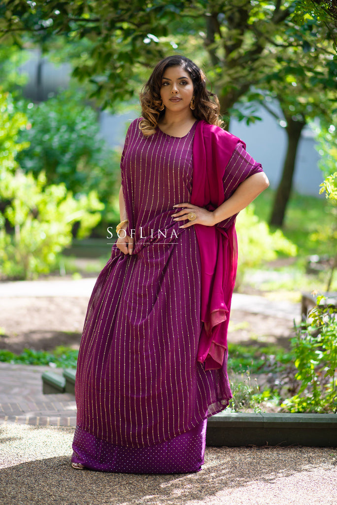 Plum Metallic stripe dirac