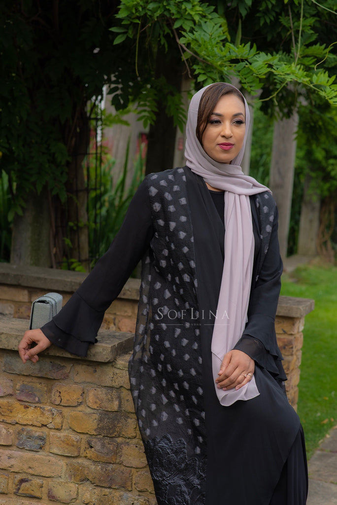 Grey diamond abaya