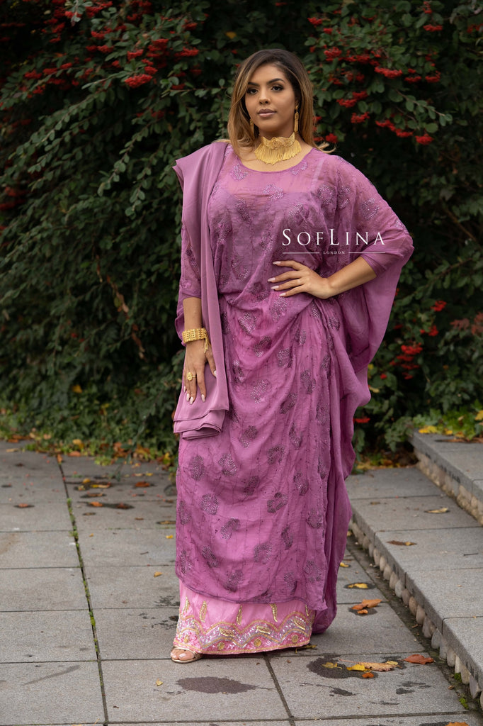 Mauve embroidered crystal dirac