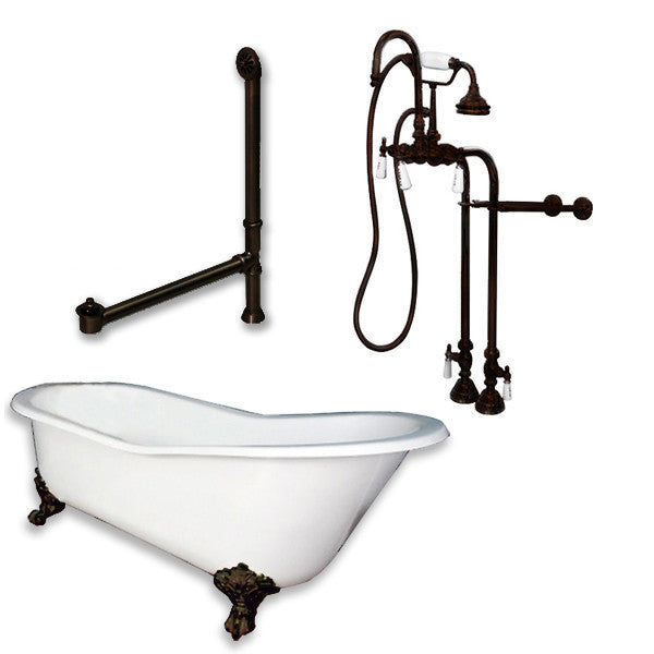 "Cast Iron Slipper Clawfoot Tub, Oil Rubbed Bronze Assembly Package, 61""x30"""