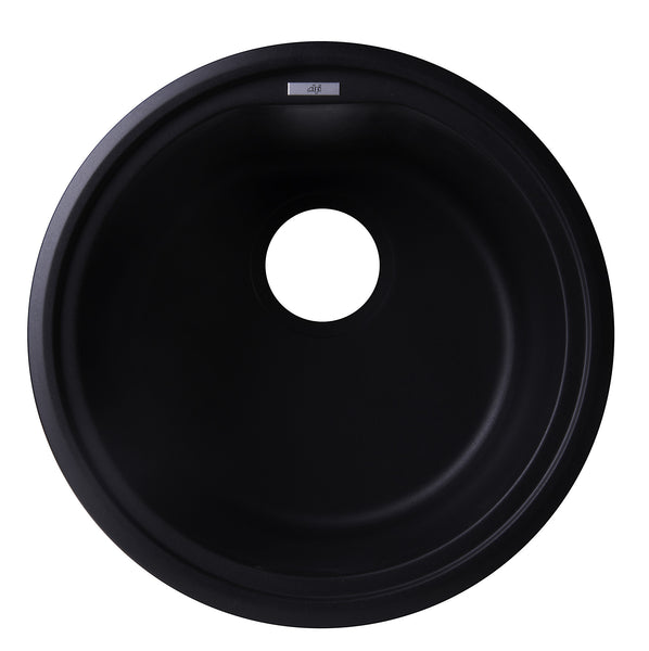 "ALFI brand AB1717DI-BLA Black 17"" Drop-In Round Granite Composite Kitchen Prep Sink"