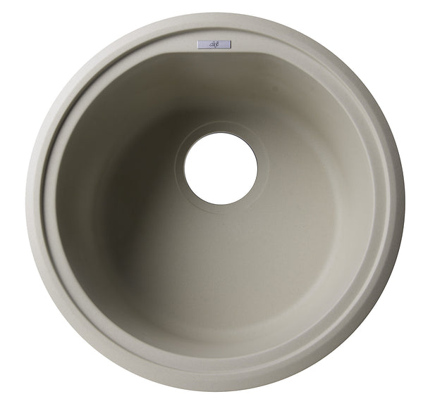 "ALFI brand AB1717DI-B Biscuit 17"" Drop-In Round Granite Composite Kitchen Prep Sink"