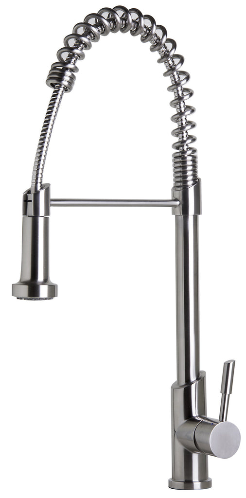 ALFI brand AB2013 Solid Stainless Steel Commercial Spring Kitchen Faucet with Pull Down Shower Spray