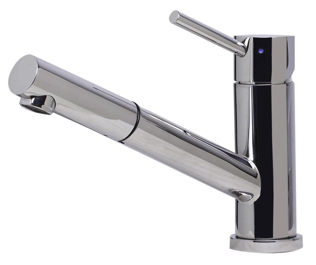 ALFI brand AB2025-PSS Solid Polished Stainless Steel Pull Out Single Hole Kitchen Faucet