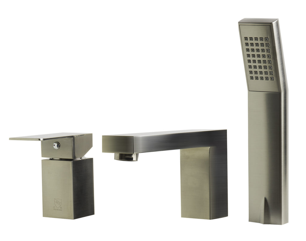 ALFI brand AB2322-BN Brushed Nickel Deck Mounted Tub Filler and Square Hand Held Shower Head