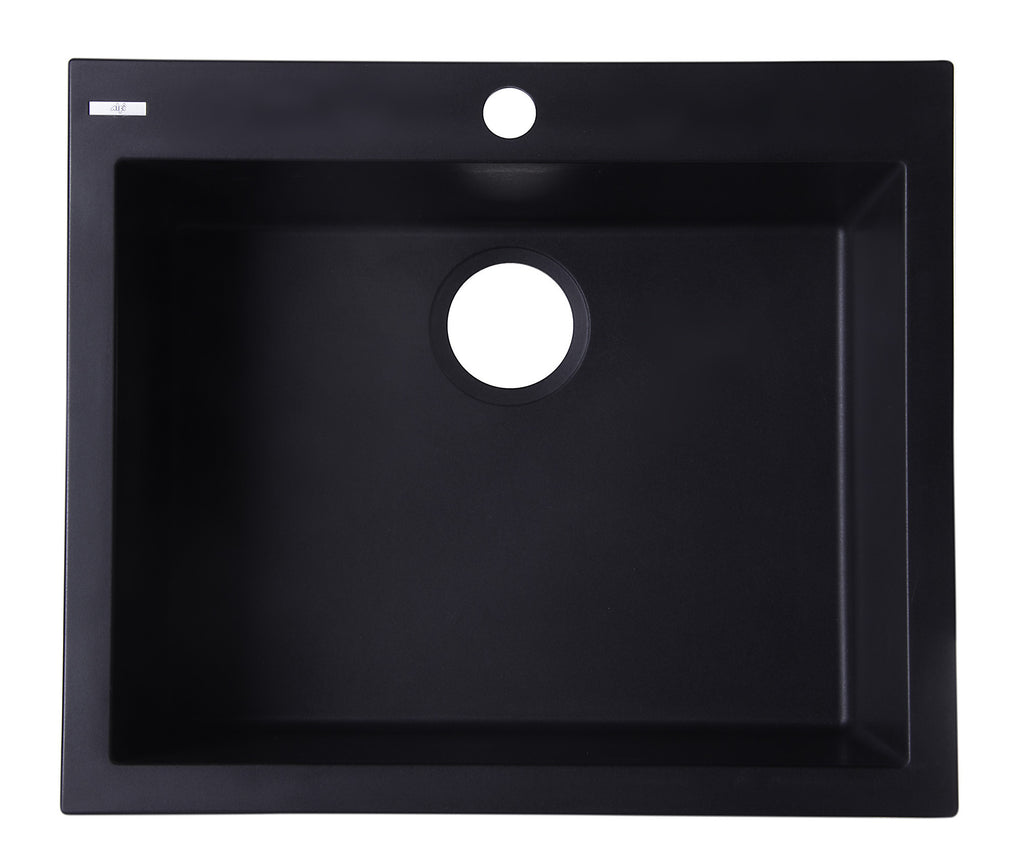"ALFI brand AB2420DI-BLA Black 24"" Drop-In Single Bowl Granite Composite Kitchen Sink"