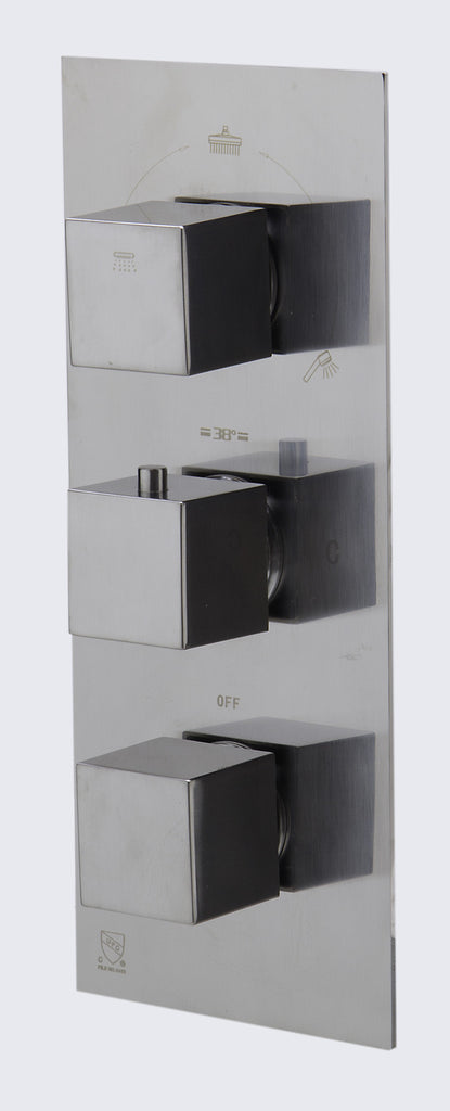 ALFI brand AB2801-BN Brushed Nickel Concealed 3-Way Thermostatic Valve Shower Mixer Square Knobs