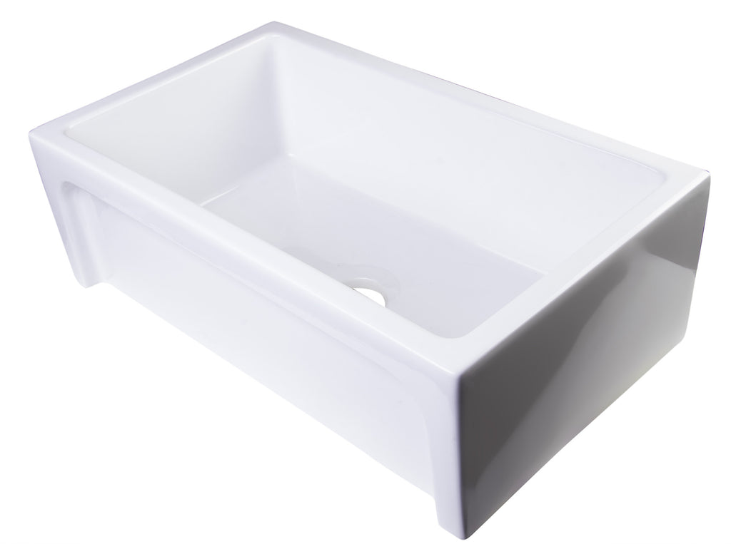 "ALFI brand AB3018ARCH-W  30"" White Arched Apron Thick Wall Fireclay Single Bowl Farm Sink"