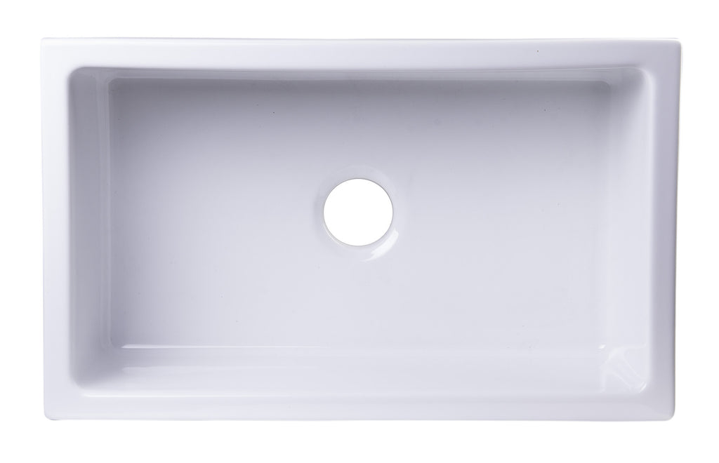 "ALFI brand AB3018UM-W  30"" x 18"" Undermount White Fireclay Kitchen Sink"