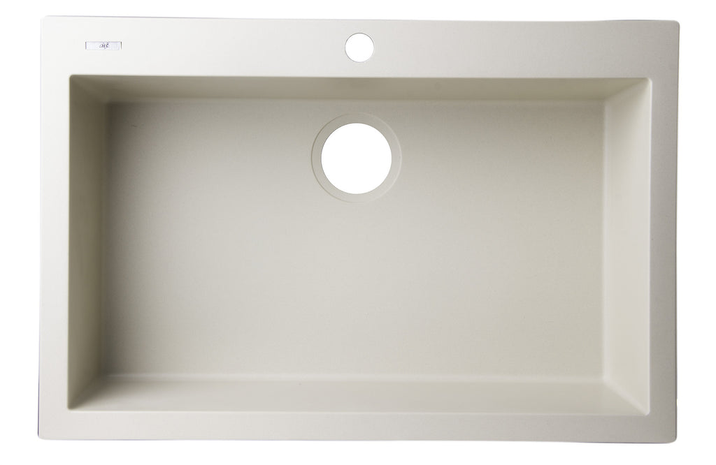 "ALFI brand AB3020DI-B Biscuit 30"" Drop-In Single Bowl Granite Composite Kitchen Sink"