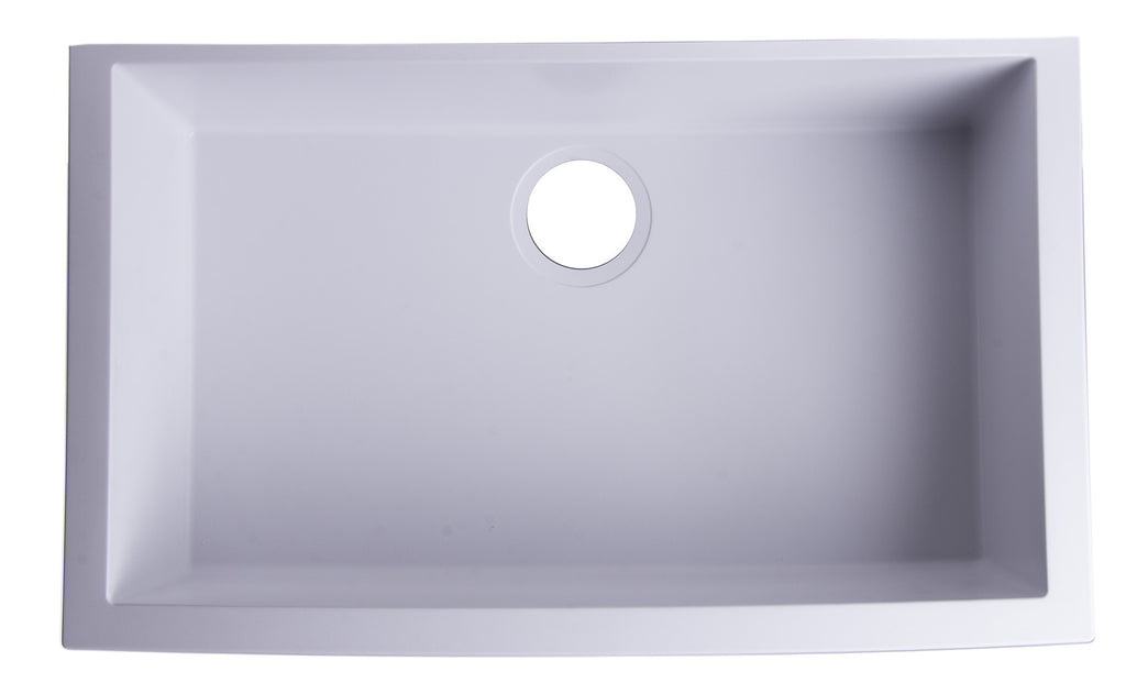 "ALFI brand AB3020UM-W White 30"" Undermount Single Bowl Granite Composite Kitchen Sink"