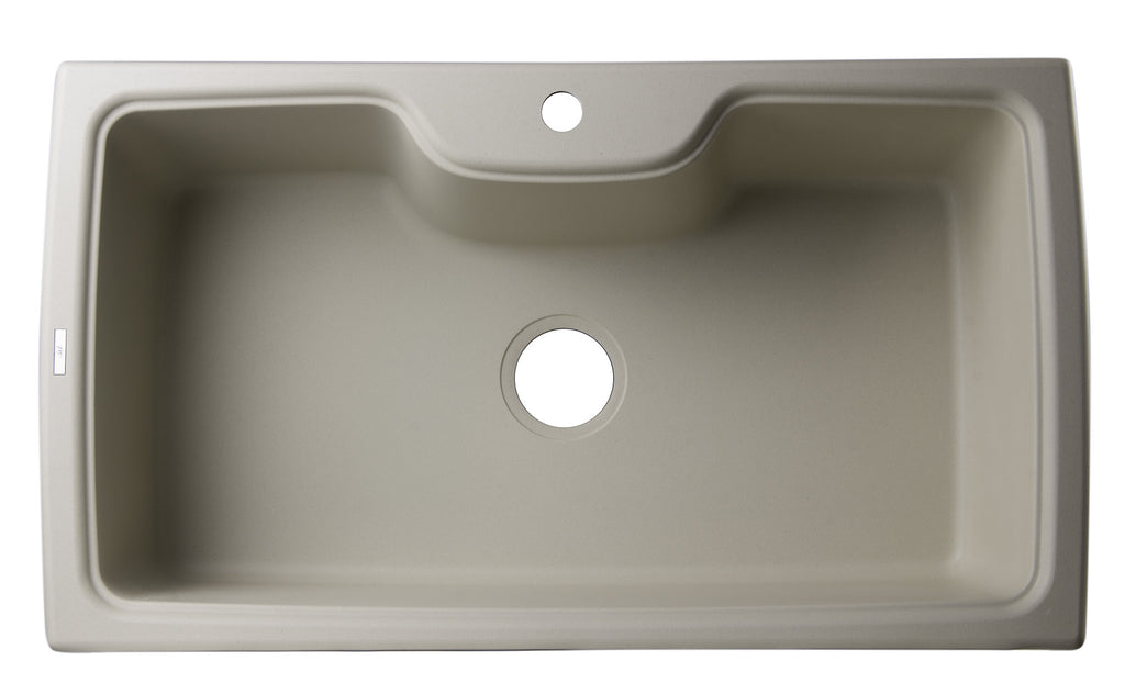 "ALFI brand AB3520DI-B Biscuit 35"" Drop-In Single Bowl Granite Composite Kitchen Sink"