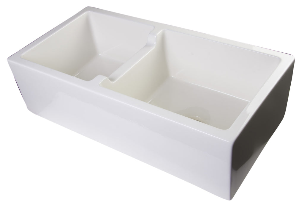 "ALFI brand AB3618DB-B  36"" Biscuit Smooth Thick Wall Fireclay Double Bowl Farm Sink"
