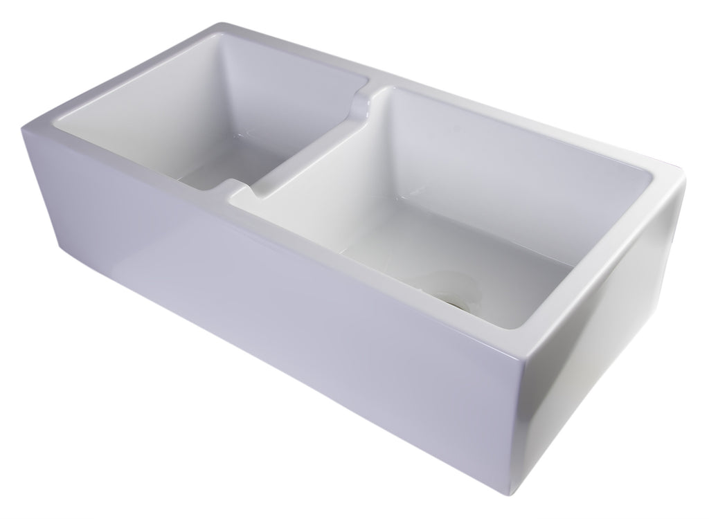 "ALFI brand AB3618DB-W  36"" White Smooth Thick Wall Fireclay Double Bowl Farm Sink"