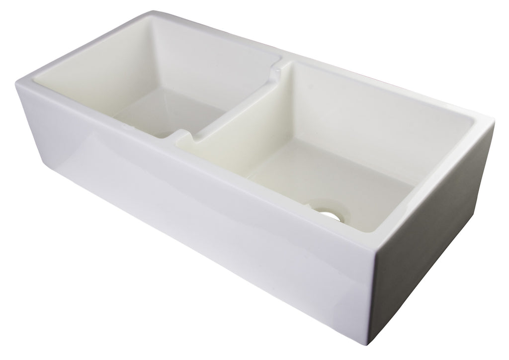 "ALFI brand AB3918-B  39"" Biscuit Smooth Thick Wall Fireclay Double Bowl Farm Sink"