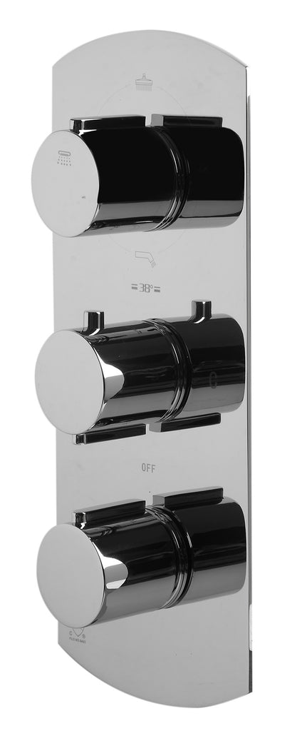ALFI brand AB4101-PC Polished Chrome Concealed 4-Way Thermostatic Valve Shower Mixer /w Round Knobs