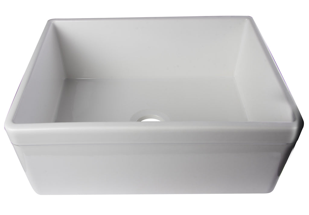 "ALFI brand AB506-W White 26"" Decorative Lip Single Bowl Fireclay Farmhouse Kitchen Sink"