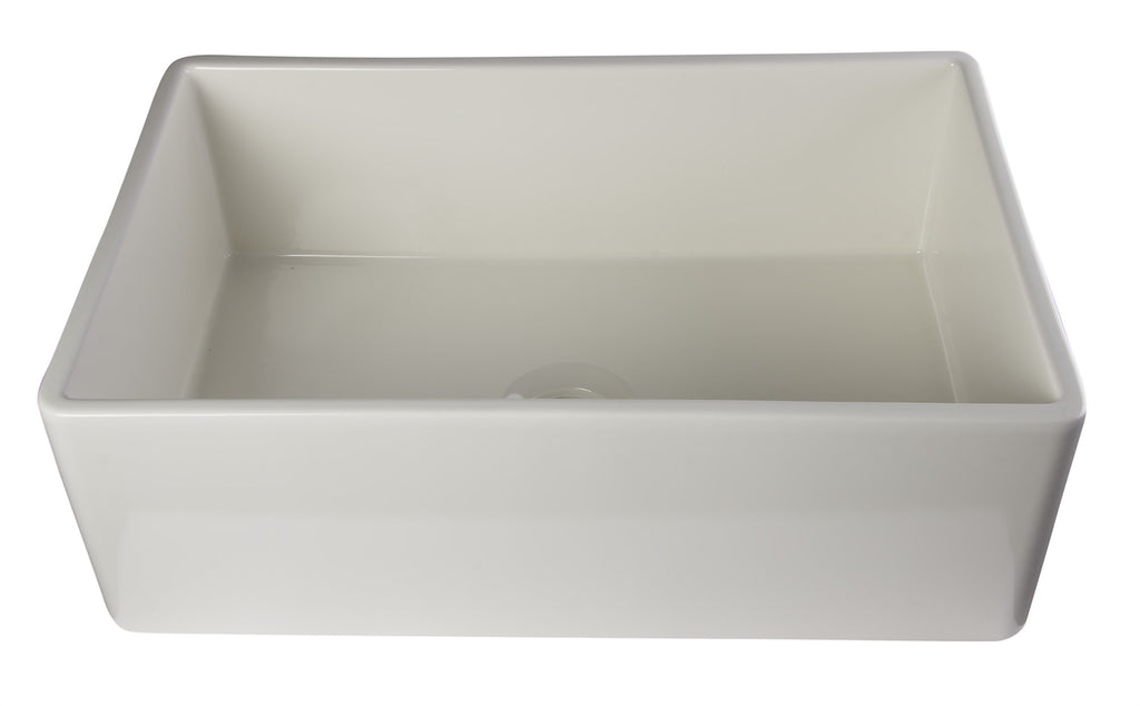 "ALFI brand AB510-B Biscuit 30"" Contemporary Smooth Fireclay Farmhouse Kitchen Sink"