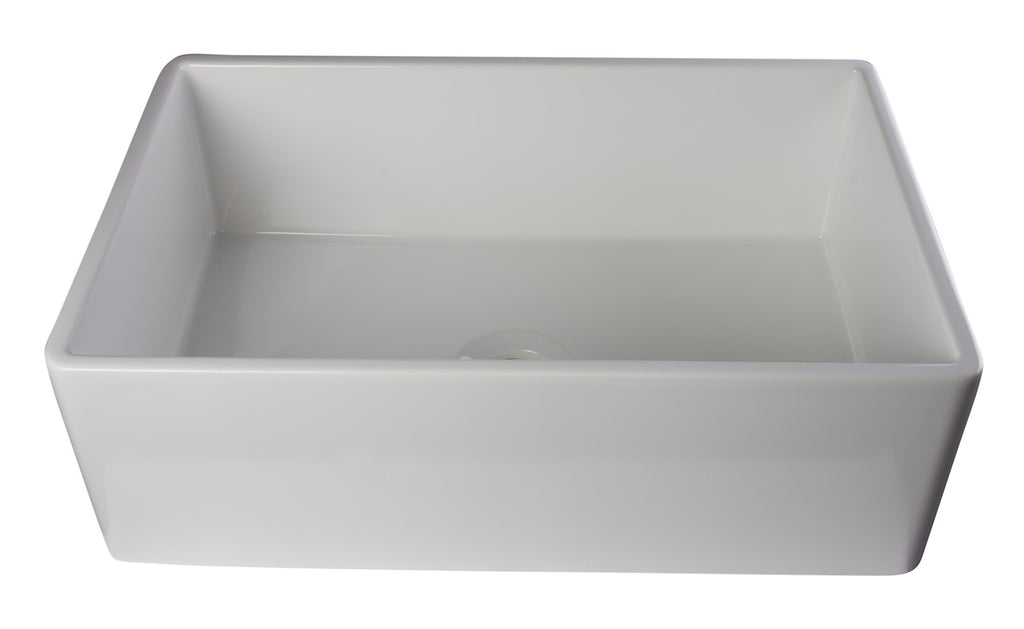 "ALFI brand AB510-W White 30"" Contemporary Smooth Fireclay Farmhouse Kitchen Sink"