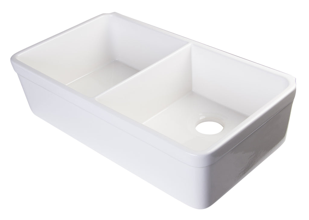 "ALFI brand AB512-W White 32"" Double Bowl Fireclay Farmhouse Kitchen Sink with 1 3/4"" Lip"