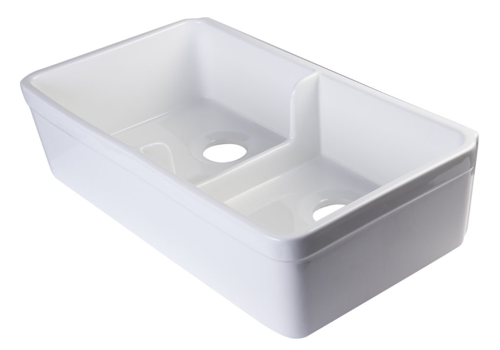 "ALFI brand AB5123-W White 32"" Short Wall Double Bowl Fireclay Farmhouse Kitchen Sink with 1 3/4"" Lip"