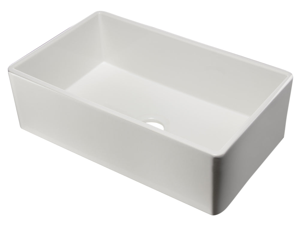 "ALFI brand AB533-W 33"" White Smooth Single Bowl Fireclay Farm Sink"