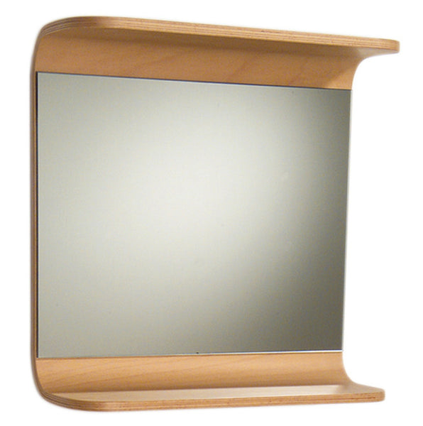 Aeri rectangular mirror with integral wood shelf