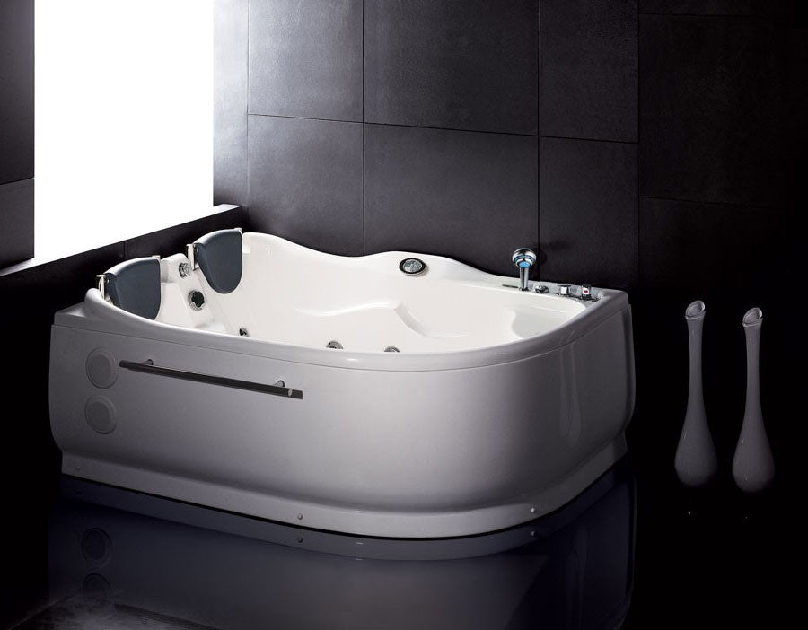 EAGO AM124-R  6' Double Corner Acrylic White Whirlpool Bathtub - Drain on Right