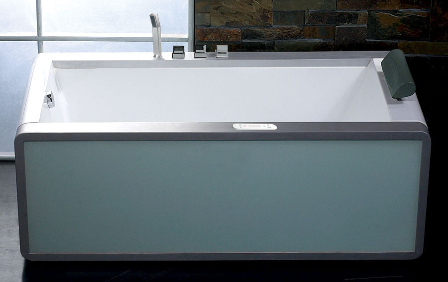 EAGO AM151-L  Left Drain 6' Modern Whirlpool Bath Tub With Colored Light Up Glass Panel - Drain on Left