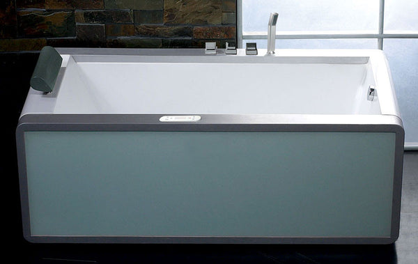 EAGO AM151-R  Right Drain 6' Modern Whirlpool Bath Tub With Colored Light Up Glass Panel - Drain on Right