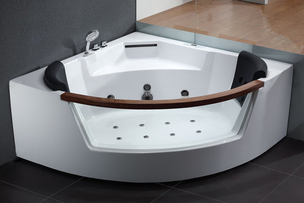 EAGO AM197  5' Rounded Clear Modern Corner Whirlpool Bath Tub with Fixtures
