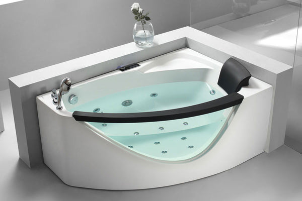 EAGO AM198-L  5' Left Drain Rounded Clear Modern Corner Whirlpool Bath Tub with Fixtures - Drain on Left