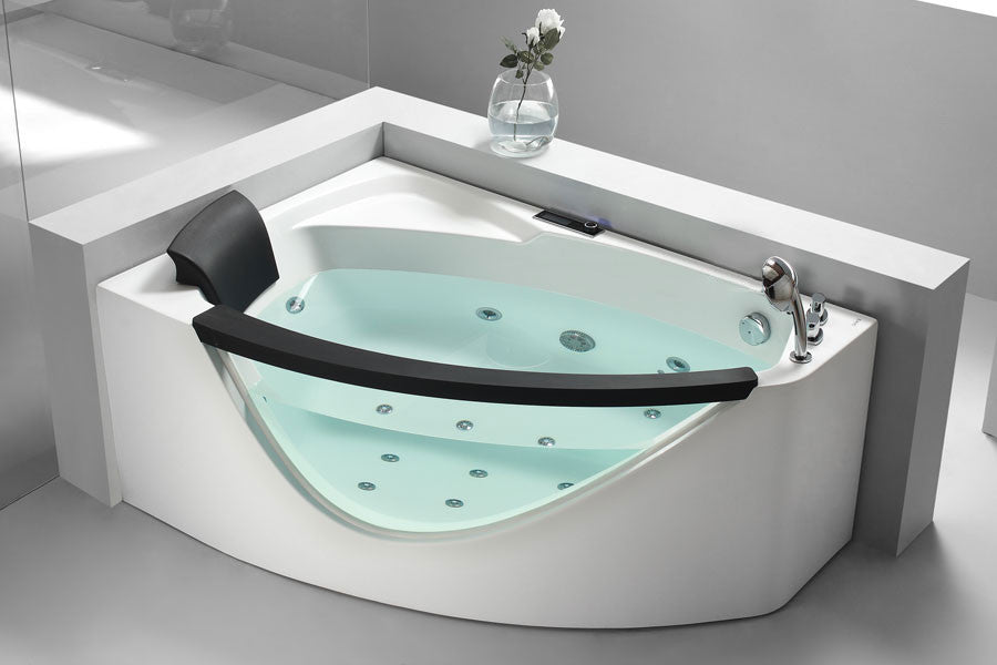 EAGO AM198-R  5' Right Drain Rounded Clear Modern Corner Whirlpool Bath Tub with Fixtures - Drain on Right