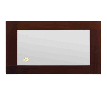 Antonio Miro large rectangular mirror with iroko wood frame and built-in clock