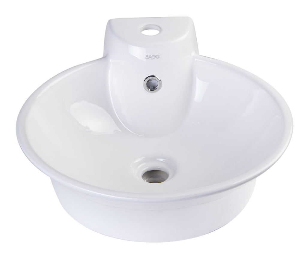 EAGO BA121 Round Ceramic Above Mount Bath Vessel Sink with Single Faucet Hole