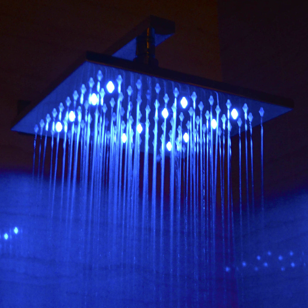 "ALFI brand LED5005 10"" Square Multi Color LED Rain Shower Head"