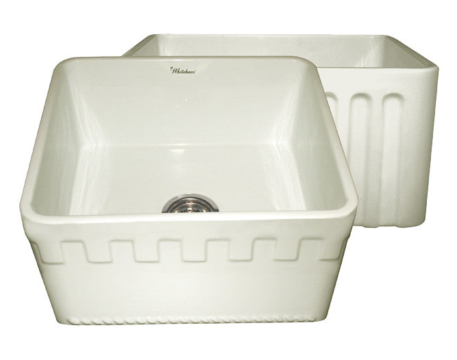 Reversible series fireclay sink with an Athinahaus front apron one side and fluted front apron on opposite side
