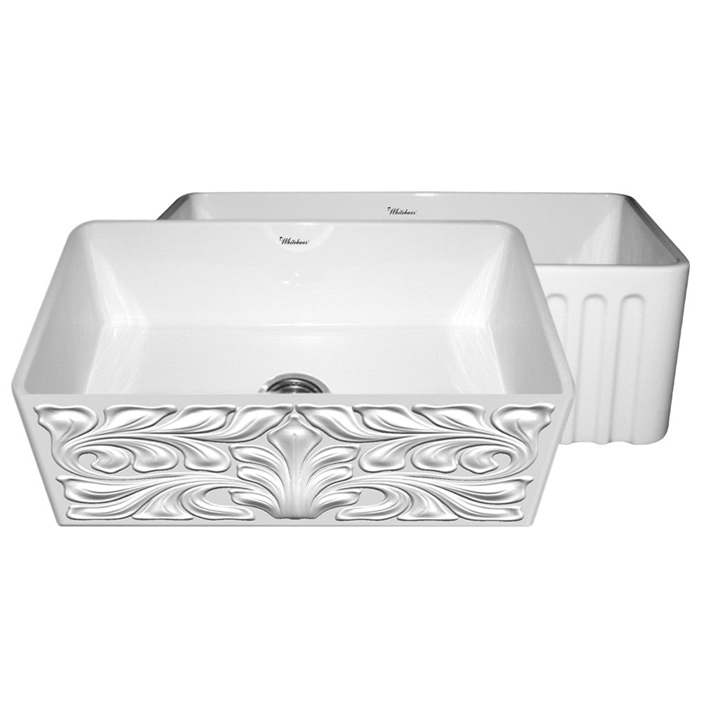 Gothichaus Reversible Series fireclay sink with a gothic swirl design front apron on one side, and a fluted front apron on the opposite side.