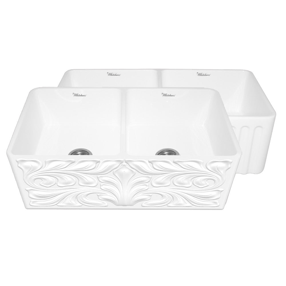 Gothichaus Reversible Series fireclay double bowl sink with a gothic swirl design front apron on one side, and a fluted front apron on the opposite side.