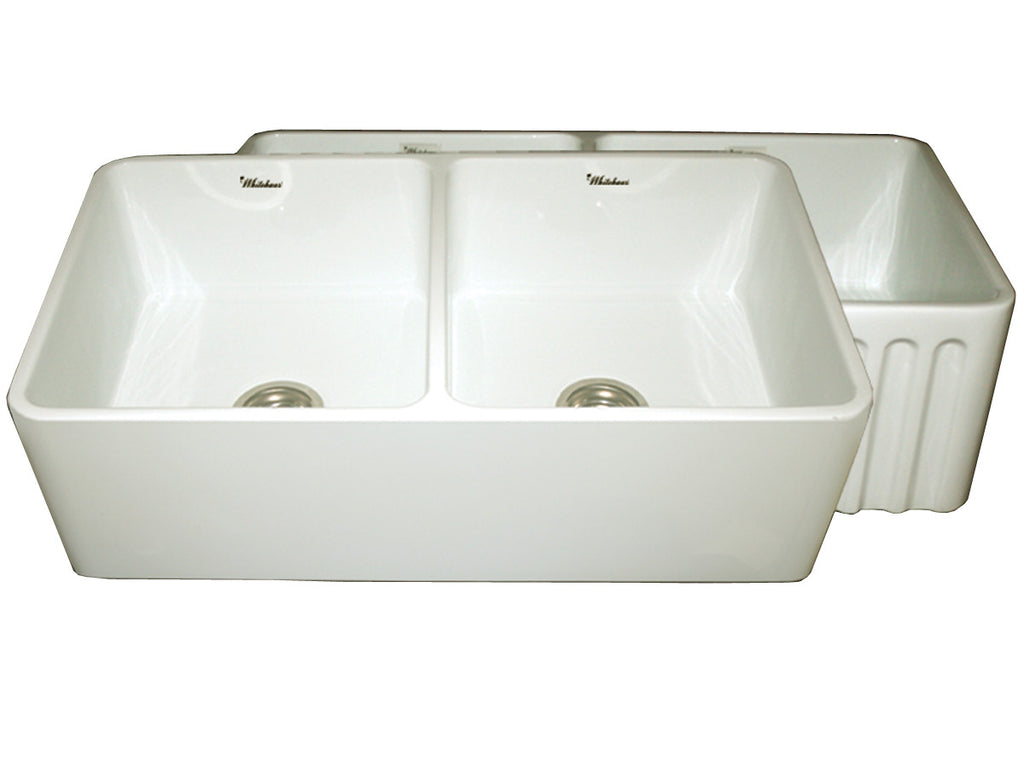 Reversible series fireclay sink with smooth front apron one side and fluted front apron on opposite side
